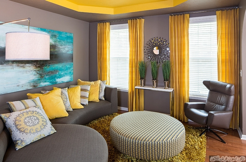 تابلوفرش ترکیب زرد و طوسی برای اتاق پذیرایی یا نشیمن - بلاگ فرش آنلاین