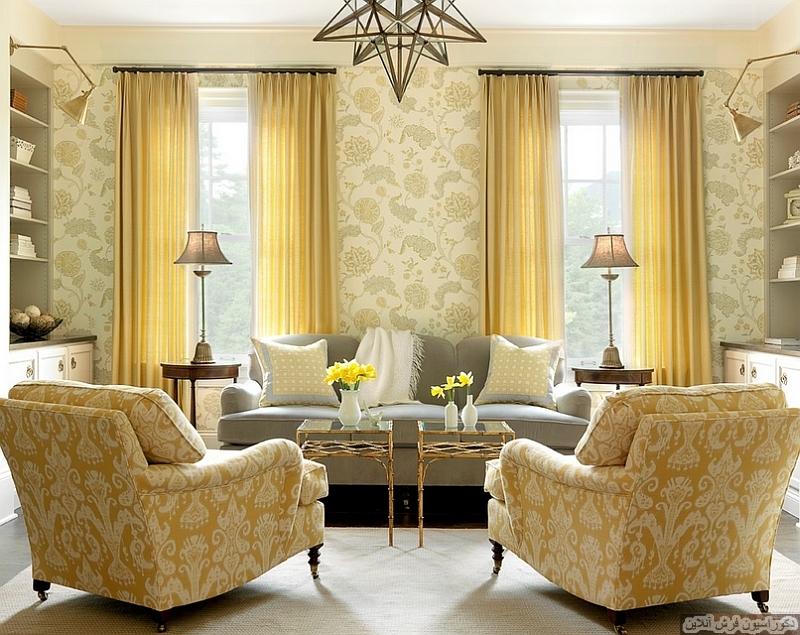 ترکیب زرد و طوسی برای اتاق پذیرایی یا نشیمن