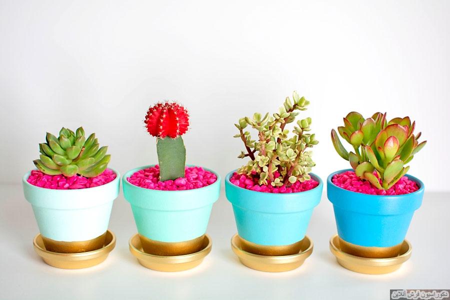۱۳ روش جالب برای تزیین گلدان ها!