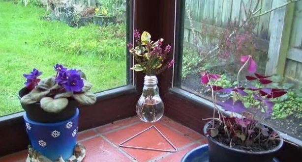 ساخت گلدان رومیزی با لامپ سوخته