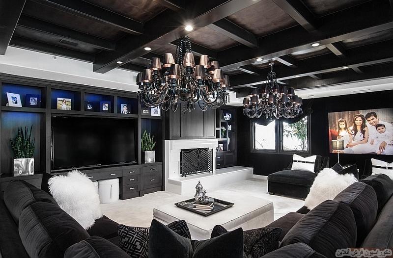 اتاق نشیمنی مدرن با تم سیاه و سفید